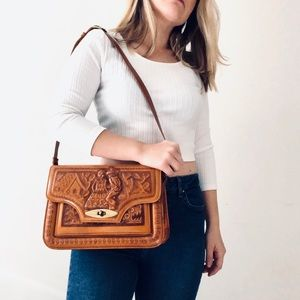 VINTAGE Handmade Leather Purse Made in MEXICO